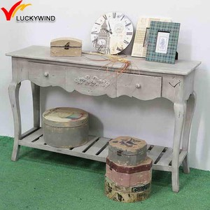 French Recycled Antique Wood Console Tables with Drawers
