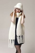Cute Winter Knitting Winter White Hat Scarf And Glove Set