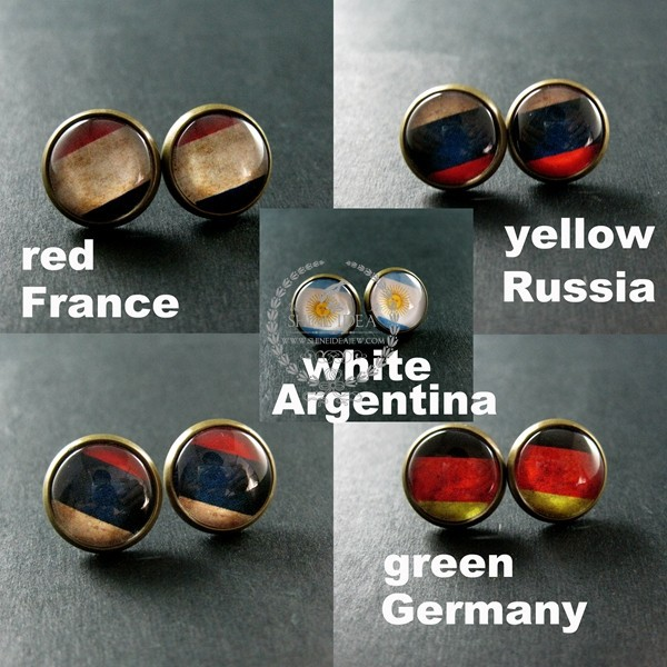 14mm vintage style round national flag France,Argentina,Russia,Germany antiqued bronze stud earrings fashion jewelry 6750130