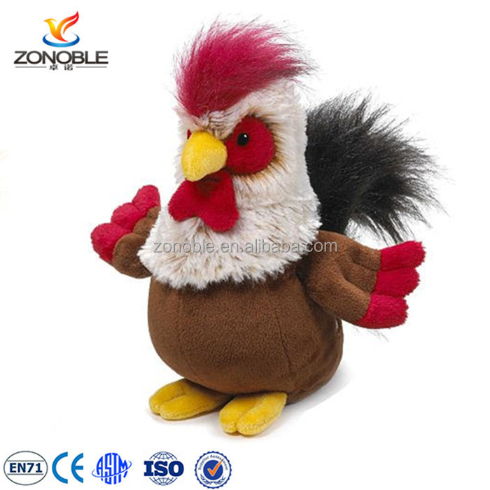Custom promotional stuffed toy turkey farm animals cock children soft toy cute plush rooster