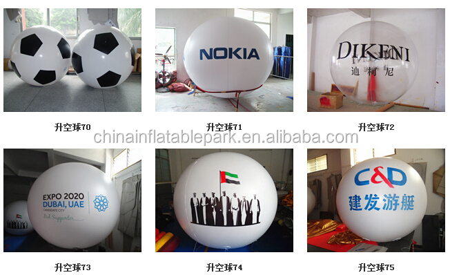 advertising inflatable blue round balloon with both side logo