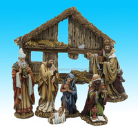 antique american religious resin nativity set for sale