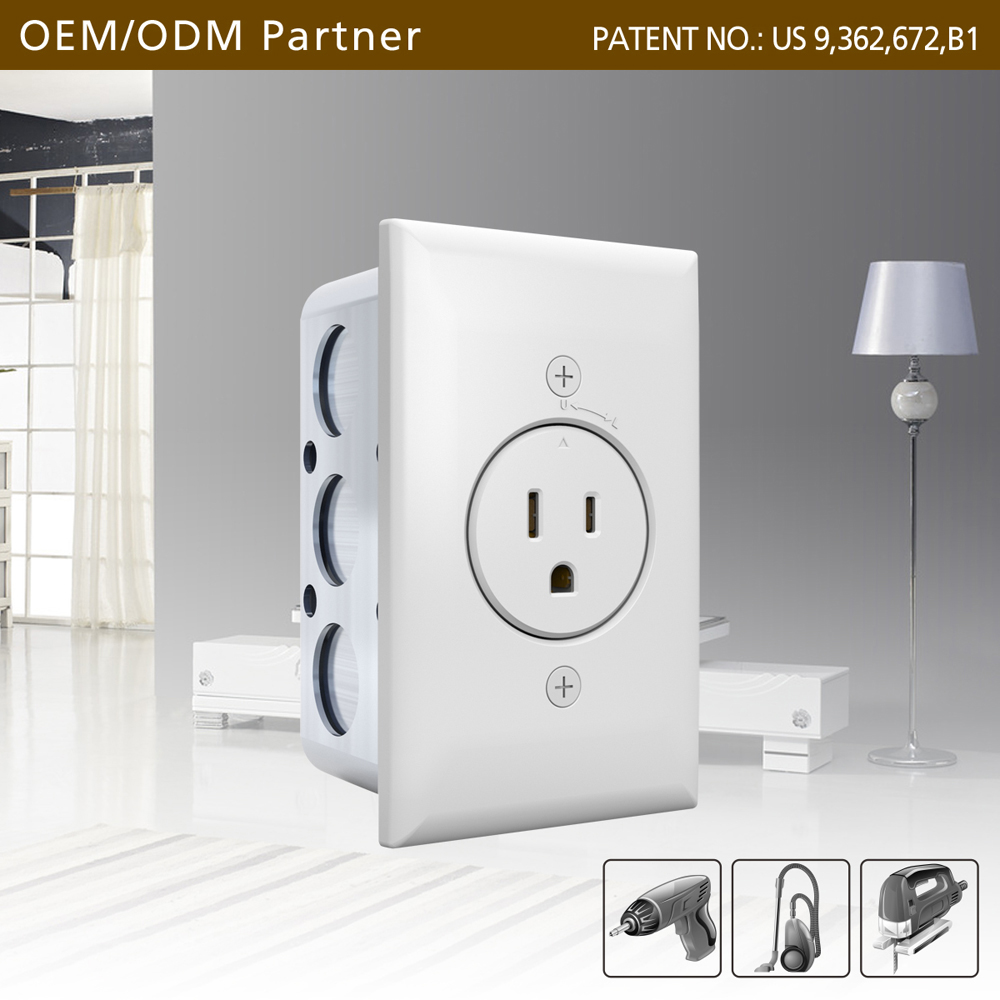 Single-head lockable electrical outlet box size regular for North American homes