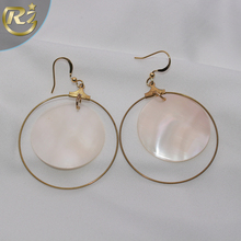 EH-05 2017 New Model Design Copper Round Drop Hook Fashion Shell Earring