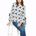 Star-patterned Features Flared Cuffs and Tie Details Blouse Tops Women Ladies