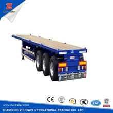 3 Axles Flatbed Container Trailer Flatbed Semi Trailer With Steel Wheel Rim