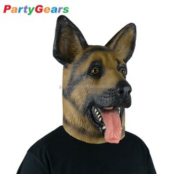 German Shepherd Dog Mask Realistic Rubber Full Head/Face Animal Dog Latex Mask