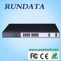 RUNDATA best selling 16 port 100Mbps PoE switch with 2 Gigabit combo,440W with metal case