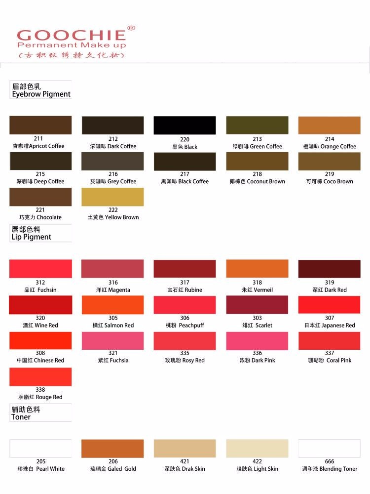 Goochie organic permanent makeup tattoo pigment ink view for Tattoo ink color chart