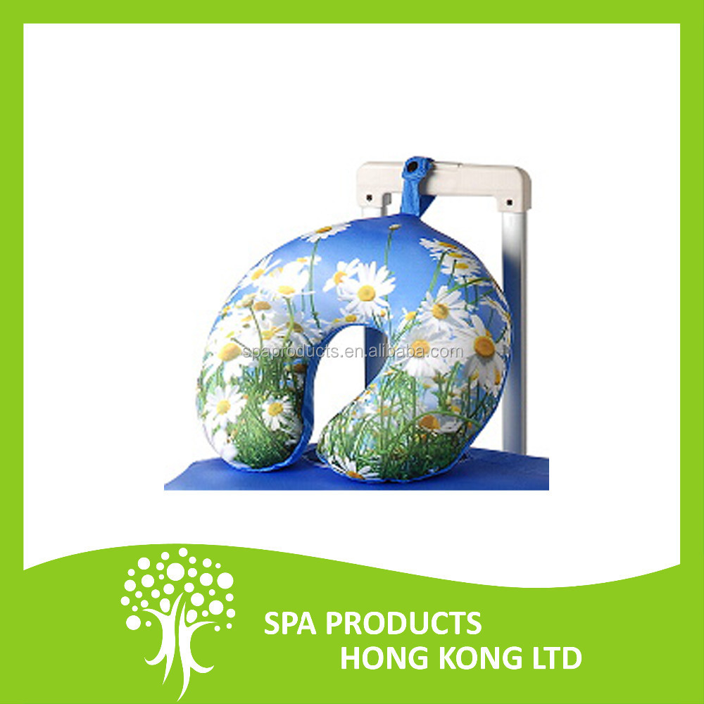 Customized Memory Foam Neck Pillow with White Flower Cover