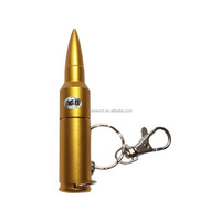 Free logo Gold bullet shape 8G USB drive Top selling bullet Pen drive with keychain
