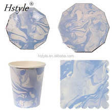 Novel Blue Halo Marble Pattern Disposable Tableware Paper Plates Cups for Baby Shower Christmas Birthday Party PP242