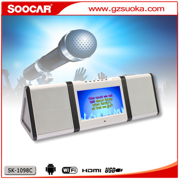 10.1 touchscreen TFT-LCD portable karaoke media player with 5.5 VHF wireless microphones