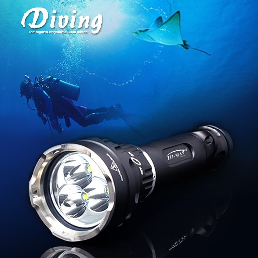 Professional deep dive 3x Cree rechargeable super bright magnetic scuba dive lights military diving equipment