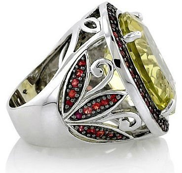 925 sterling silver ring with Yellow Quartz and Orange Sapphire