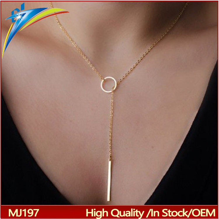 aliexpress wholesale 2017 fashion unique charming chic gold Color bar circle lasso style choker necklace