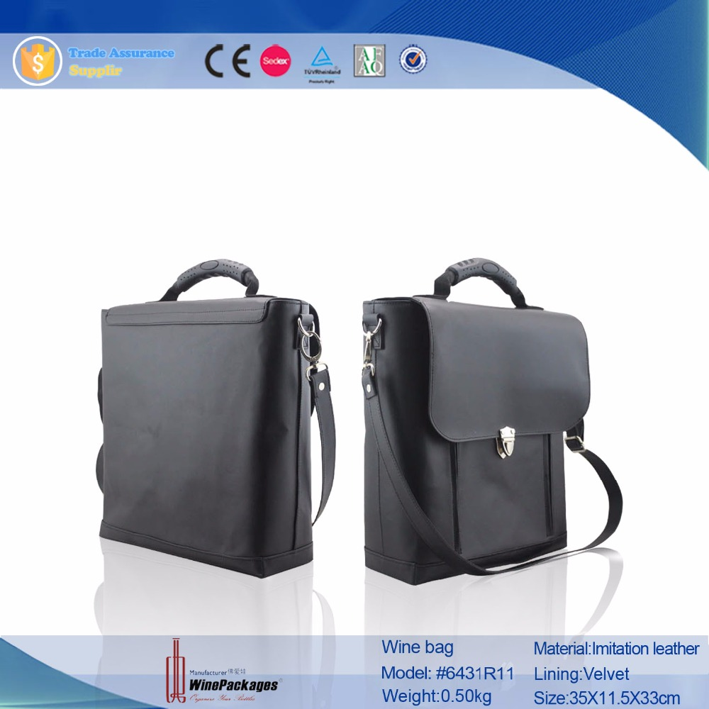 New style black imitation leather wine bag , wine luggage carrier