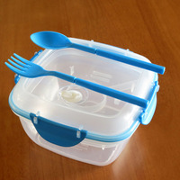 Plastic clip seal Microwavable Noodle Bowl with fork&Spoon