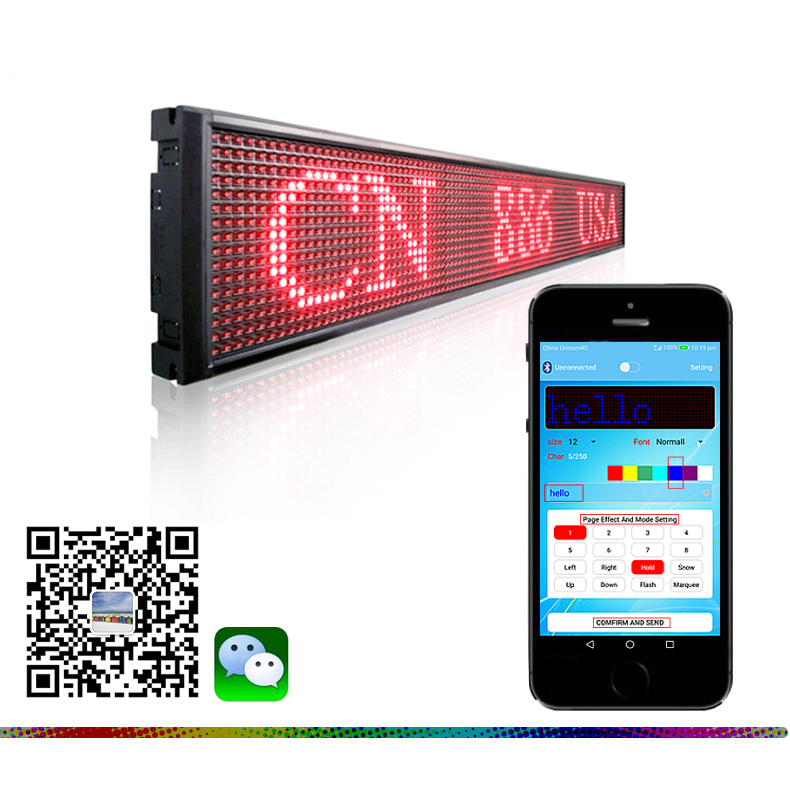 Semioutdoor Red <strong>P10</strong>-16X128 Bluetooth LED moving message <strong>sign</strong>