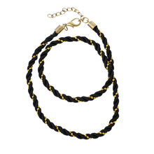 Fashion Ball Chains Lobster Clasp Black Terylene Braiding Jewelry Choker Necklace