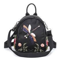 autumn new design children flower embroidery backpack kids handmake Rhinestone dragonfly single-shoulder bag