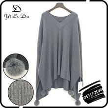 Pompon Cable Knit Girls Sweater Poncho