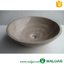 Indoor Bathroom Beige Marble Oval shaped Sink & Wash Basin