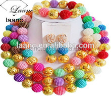 Imitate Pearls Plastic Bead and Metal Ball Nigerian Wedding African Beads Jewelry Sets