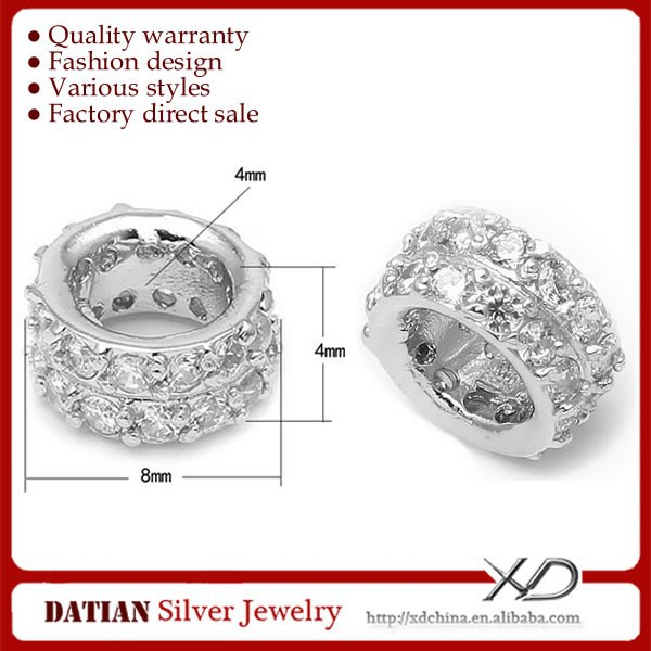 XD SB016 Micro Pave CZ 925 Sterling Silver Spacer Beads 4mm <strong>Hole</strong>