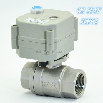 2 Way Electric control NSF61 Stainless Ball Valve Motorized Flow water Ball valve with manual operation (T20-S2-B)