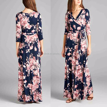 Online Shopping Sexy Women Long Sleeve 95% Polyester / 5% Spandex Floral Surplice Maxi Kaftan Dress