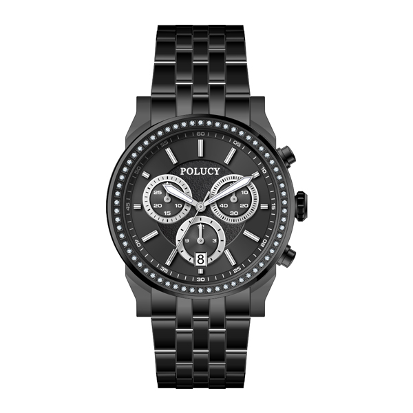 OEM all stainless steel chronograph black ladies watches