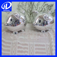 Hot sale silver plated ceramic pig coin bank, piggy bank with lock and key