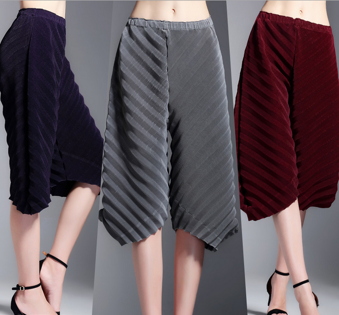Loose summer fashion pleat elegant solid palazzo pant Women dancing bottom