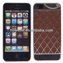 FL2373 2013 Guangzhou hot selling grid pattern diamond pu leather back cover case for iphone 5 5G