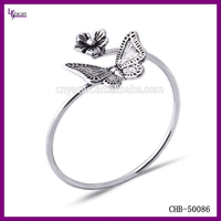 Fashion Low Moq Butterfly 925 Sterling Silver Green Stone Ring