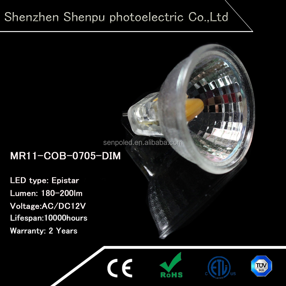 Good selling mr11 led 12v 2w cob light glass spotlight replace halogen lamp