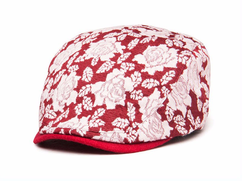 kids children lace rose embroidery flat cap cheap newsboy hat