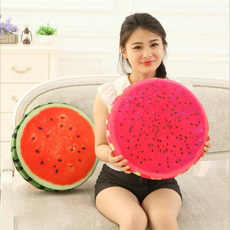 3D Fruit Cushion Cartoon Round Cushions Orange Seat Cushion Watermelon Floor Cushions Memory Foam Insert