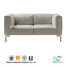 modern simple sofa set design, wholesale two-seater imported thick silver leather sofa in china