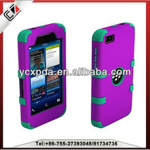 Fashion hybird hard pc silicone phone cover case for BlackBerry z10; BB10 Blackberry z10 cover case