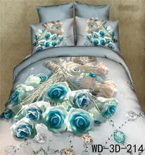 Romantic Rose and Diamond Print 100% Cotton 3D bedsheet