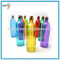High quality drinking colored glass bottles with cork for water
