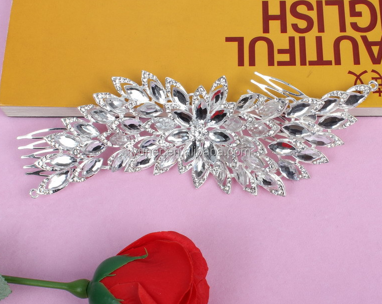 2016 Hot sale shining rhinestones wedding decorative hair comb