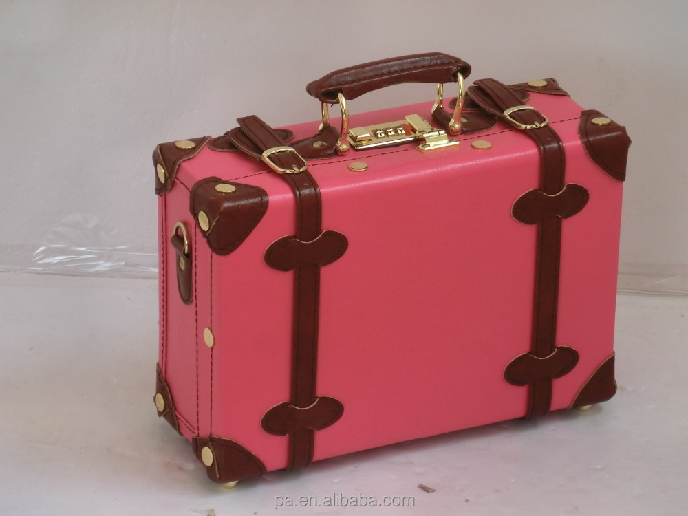 Pink PU leather vintage beauty case/ make-up box/ cosmetic box