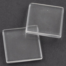 Cheap Transparent Clear 18mm square shape glass cabochons For Blank Pendant Tray