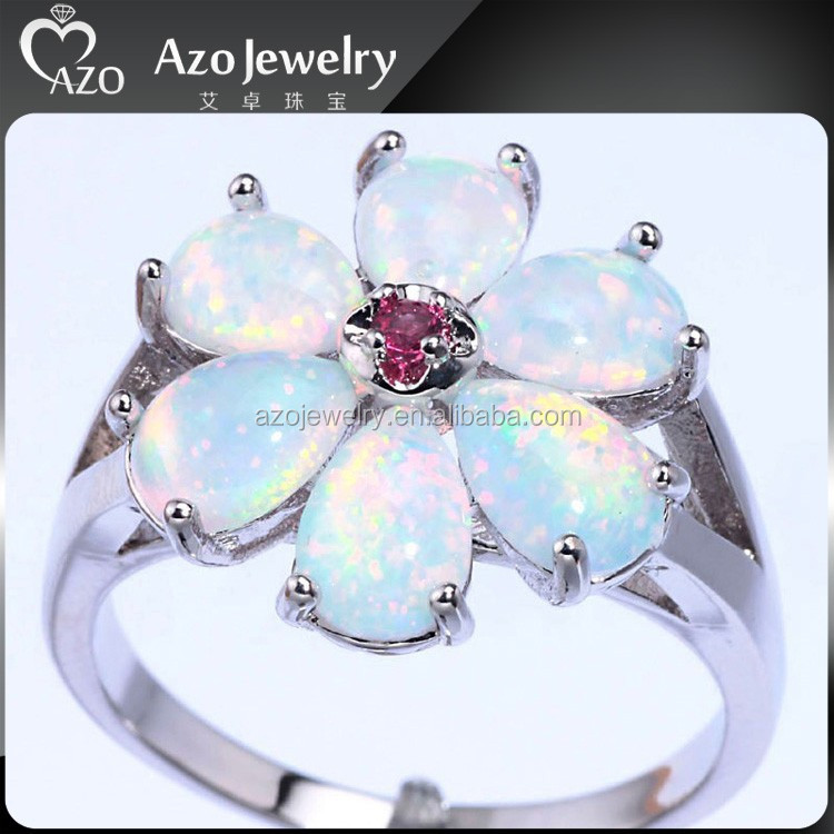 925 Sterling Silver White Fire Opal Kunzite Chic Flower Ring