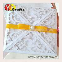 laser cut pure white color four folds fashionable wedding card