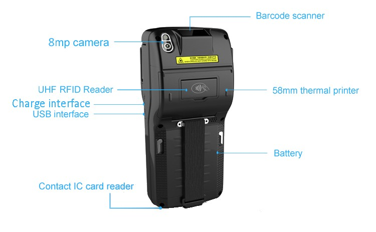 4G LTE Android Cheap small handheld outdoor designer 2d lase barcode scanner