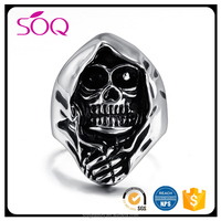 2017 Fine fashion men titanium steel personalized skeleton jewelry skull ring mold